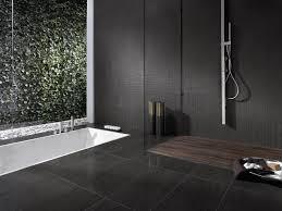 black bathroom. Bathroom:Amazing Minialist Bathroom Design With Black Tile Floor And Stainless Steel Faucet Decor Idea