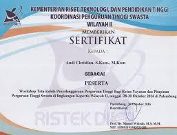 Sertifikat Pelatihan Sertifikat Seminar Dan Pelatiahn Andi Christian
