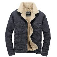 winter men s fleece lined denim jackets turn down collar thick warm jeans jackets coats for male us size s l