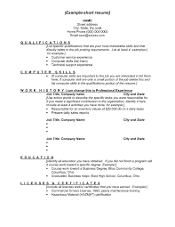 Examples Of Short Resumes Examples Of A Short Resumes Example Short Resume Short Resume Short 2
