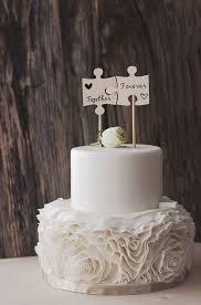 wedding cake toppers. wedding cake flags - wood burned puzzle pieces best day ever wooden topper rustic handmade | pinterest toppers