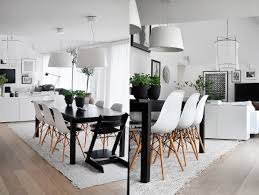 dining table interior design kitchen:  white eames style chairs