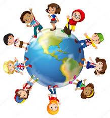 Children standing on globe — Stock Vector © blueringmedia #82903144