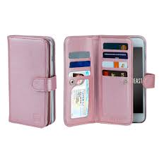 gear beast iphone 7 8 wallet case flip cover dual folio case slim protective pu leather case 7 slot card holder including id holder 2 inner pockets stand