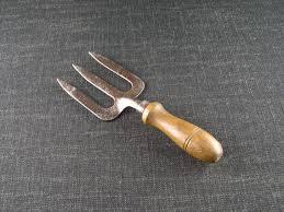 vintage garden hand tools. vintage garden hand fork - 3 tines tools