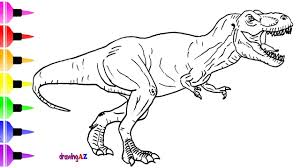 how to draw a dinosaur from juric world for children shark on park t rex coloring