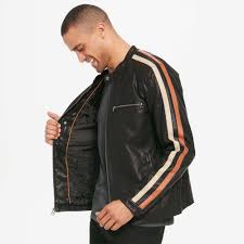 motorcycle faux leather jacket w stripe for view fullscreen