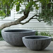 Big Concrete Planters Tall Fiberstone Bowl Bowls Frosting And Indoor