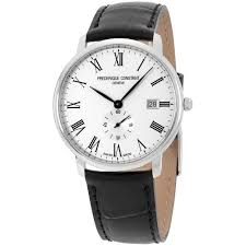 frederique constant men s watch white dial brown leather strap fc frederique constant men s slimline silver dial leather band watch fc245wr5s6