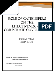 Role of Gatekeepers on the Effectiveness of Corporate Governance    Corporate Governance   Credit Rating Agency