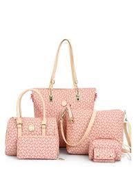 Buy <b>6 Pcs Women's Handbag Set</b> Arrow Pattern Color Block ...