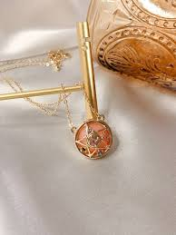crystal star locket necklace moon wand