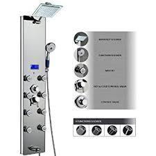 akdy ak787392m 52 inch tempered glass aluminum shower panel az787392m rain style massage system shower panel system c14
