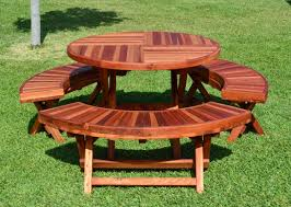 round wood picnic table plans with round wooden picnic table kits plus round wood picnic table together with round redwood picnic table as well as round