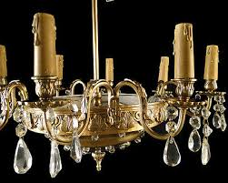 antique french empire style bronze crystal chandelier eight original wood cand