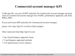 Commercial Account Manager Kpi
