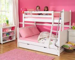 Girls Bunk Bed w Ladder & Trundle