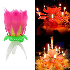Cake Candle Musical Candle Lotus Flower Party Gift Art Happy