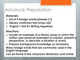 welcome to english wednesday week word study e d e reading  8 advance preparation