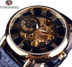 popular engraved watch case buy cheap engraved watch case lots forsining 3d logo design hollow engraving black gold case leather skeleton mechanical watches men luxury brand