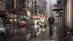 hd lonely man in the city wallpaper