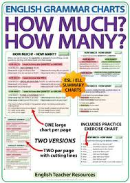 How Much How Many English Grammar Charts