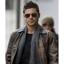 new year s eve zac efron distressed brown leather jacket