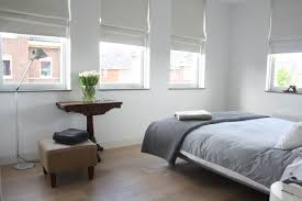 Example of a trendy medium tone wood floor bedroom design in Amsterdam with  white walls