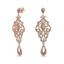 rose gold plated ombre teardrop crystal chandelier earrings