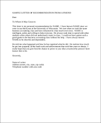 Letter Of Recomendation Example How To Write A Letter Of Recommendation For A Friend Bravebtr