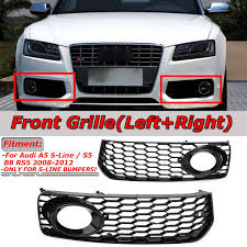 Audi A5 Led Fog Light Bulbs Black Chrome Silver 1pair Car Fog Light Lamp Cover Honeycomb Mesh Hex Front Grille Grill For Audi A5 S Line S5 B8 Rs5 2008 2012