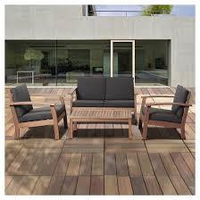 Exellent Wood Patio Furniture With Cushions Beach Eucalyptus Set Black For Ideas