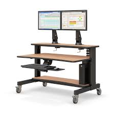 two level computer desk with keyboard tray