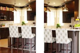 Patterned Bar Stools Simple Patterned Fabric Upholstered Bar Stools With Back Geometric Print Of