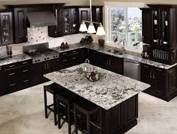 white granite countertop with high contrast looks striking in this all black kitchen it opens up the cooking space not only that it doesn t take anything