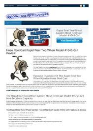 hose reel cart rapid reel two wheel model 1043 gh review