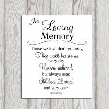 In Loving Memory Sayings And Quotes Inspiration In Loving Memory Printable Memorial Table Wedding By DorindaArt
