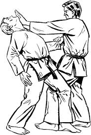 karate coloring page kick kid double in