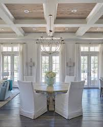 dining room coffered ceiling with pecky cypress trim