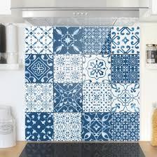 Spritzschutz Glas Fliesen Mustermix Blau Weiß Quadrat 11