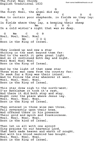 Song Lyrics With Guitar Chords For The First Noel Trad