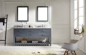 Open Shelf Vanity Bathroom Gray Stained Wooden Vanity Cabinet With Open Shelf And Drawers