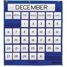 Classroom Calendar Pocket Chart Pacon 20200 Monthly Calendar Pocket Chart