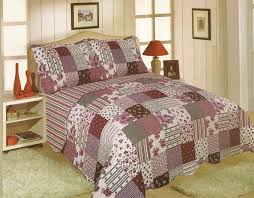 king size restmor freya multi purple patchwork check quilted bedspread throw only