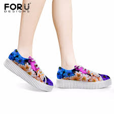 Floral Design Shoes For Ladies Forudesigns Flower Printing Women Tennis Sport Shoes Outdoor