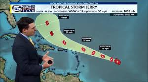 Tropical Storm Jerry forecast to become a hurricane as it moves west