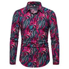 Flower Pattern Slim Long-sleeved Shirt Mens Cotton Linen for Men ...