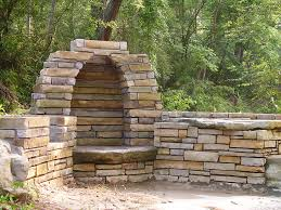 stone outdoor fireplace front view of beehive fireplace