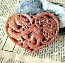 heart carved red jade pendant brown jade chinese dragon jade pendant link double face gemstone amulet talisman pendant necklace jewerly