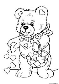 Print Valentines Day Teddy Bear Coloring